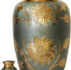 Brass Urn Olive Green – Gold Flowers