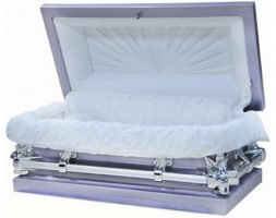 Lavender Child's Casket White Interior