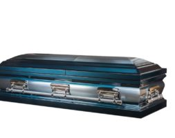 Apollo – Metal Casket in Blue with Silver and White Velvet Interior