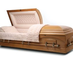 Nashville Maple – Maple veneer Wood Casket with Beige Velvet Interior