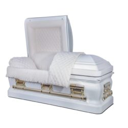 Huntington – Metal Casket in White Finish with Beige Velvet Interior