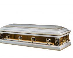 Yellow Gold – Metal Casket in White and Gold finish with White Interior
