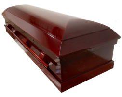 Classic – Mahogany veneer Wood Casket with Ivory Velvet Interior