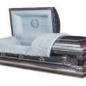 Father – Metal Casket in Monarch Blue and Shaded Silver with Blue Interior