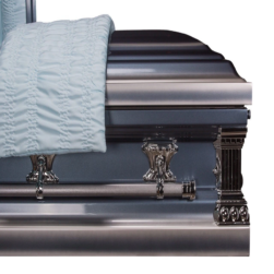 Harmony Full Couch – Wooden Casket Maple Color with Ivory Velvet Interior
